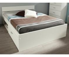 PARISOT Bett mit Stauraum INFINITY Bruno - 160 x 200 cm - 2 Schubladen - Weiß