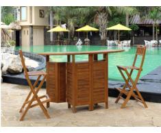 Gartenbar Holz Akuda + 2 Barstühle