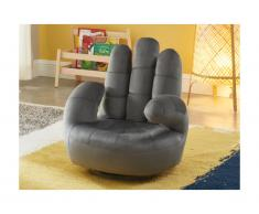 Kindersessel Fingersessel drehbar CATCHY - Samt - Anthrazit