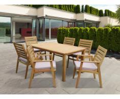 Garten Essgruppe Holz AZZAO: Esstisch & 6 Sessel