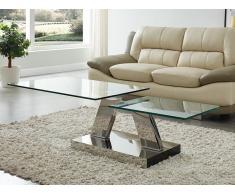 Couchtisch mit drehbaren Tischplatten Sicherheitsglas & Metall OYRUS