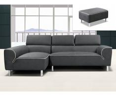 Ecksofa Stoff + Hocker TOULA - Anthrazit - Ecke Links