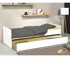 Sparset Kinderbett Nolan - 90x190cm + 2 Matratzen -  Weiß