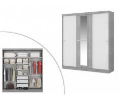 Kleiderschrank Didda - 3 Schiebetüren - Grau und Weiß