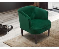 Lounge-Sessel KELYAN - Samt - Dunkelgrün