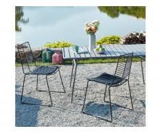Gartenstuhl 2er-Set MACAPA - Stapelbar - Metall - Schwarz