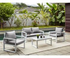 Garten Sitzgruppe Aluminium KIRIBATI: 2-Sitzer-Sofa, 2 Sessel & Couchtisch