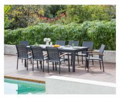 Garten-Essgruppe NAURU - Aluminium - Tisch ausziehbar B 220/300 cm & 8 stapelbare Sessel