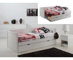 Ausziehbett mit Bettkasten ALFIERO + Lattenrost - 90x190cm