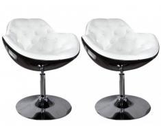 Lounge-Sessel 2er-Set Elvita - Drehbar - Schwarz & Weiß