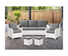 Garten-Sitzgruppe MOOREA - Polyrattan - Sofa, 2 Sessel & 2 Hocker - Weiß