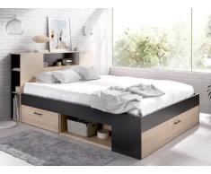 Bett mit Stauraum & Schubladen LEANDRE - 160x200 cm - Eiche & Anthrazit