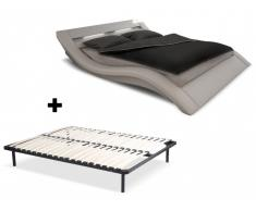 Sparset Ondulis: LED-Polsterbett in 160x200 inkl. Lattenrost (2-tlg.) - Weiß