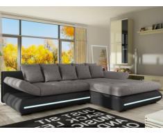 XXL-Ecksofa Big Sofa Schlafsofa Stoff mit LED-Leiste Mattias - Schwarz/Grau - Ecke Rechts