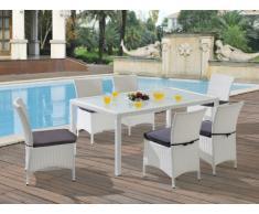 Polyrattan Essgruppe Alanda: Tisch + 6 Stühle - Weiß & Grau
