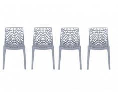 Stuhl 4er-Set Diadem - Kunststoff - Grau