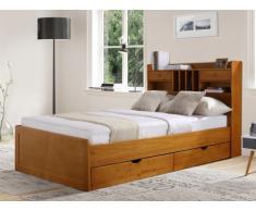 Holzbett mit Stauraum Mederick - 140x190cm - Holzfarben