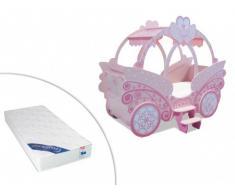 Sparset: Prinzessin Bett Kinderbett Rose - 90x190cm inkl. Matratze