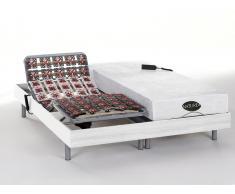 Matratzen elektrischer Lattenrost 2er-Set mit Okin-Motor Lysis III - 2x90x200cm - Weiß