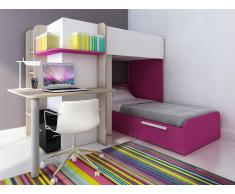 Hochbett mit Schreibtisch SAMUEL + Bettboden - 2x90x190cm - Rosa