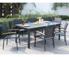Garten Essgruppe Aluminium NAURU - Tisch ausziehbar 180/240 cm & 6 Stühle - Anthrazit