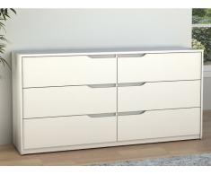 Kommode LUCILE II - 6 Schubladen - Holz (MDF) - Weiß