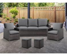 Garten-Sitzgruppe MOOREA - Polyrattan - Sofa, 2 Sessel & 2 Hocker - Anthrazit