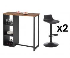 Sparset Hausbar: Barmöbel MORENA + 2 Barhocker CALAS - Schwarz & Nussbaumfarben