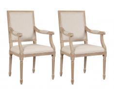 Stuhl mit Armlehnen 2er-Set Stoff & Holz AMBOISE