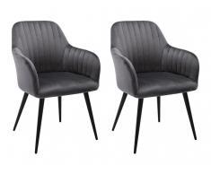 Stuhl mit Armlehnen 2er-Set ELEANA - Samt & Metall Schwarz - Grau