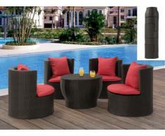 Polyrattan Lounge Sitzgruppe Sao Paulo (5-tlg.) - Anthrazit & Rot