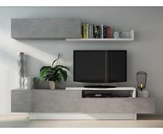 TV-Wand mit Stauraum MONTY - Weiß/Beton-Optik