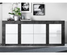 Sideboard ESSIA - 4 Türen - Schiefer-Optik & Weiß