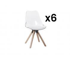 Stuhl 6er-Set LOVA - Polycarbonat - Weiß Transparent