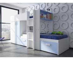 Kinderbett Hochbett Etagenbett Julien - 2x90x190cm - Limited Edition - Blau