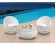 Polyrattan Lounge Sitzgruppe Cazas (3-tlg.) - Weiß