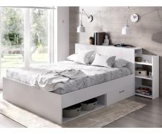 Bett mit Stauraum & Schubladen FLORIAN - 140x190 cm - Weiß