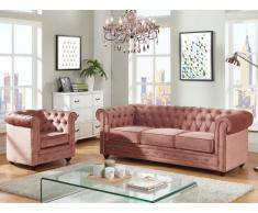 Couchgarnitur 3+1 Samt Chesterfield ANNA - Rosa