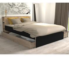 Bett mit Stauraum EUGENE - 140x190cm - Eichefarben & Schwarz
