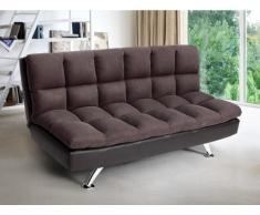 Schlafsofa Klappsofa 3-Sitzer DIDIER II - Microfaser & Kunstleder - Braun