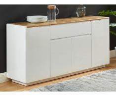 Sideboard AMANI - 4 Türen & 1 Schublade - MDF lackiert - Weiß/Eichenholzfarben