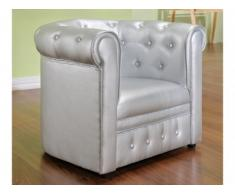 Chesterfield Kindersessel Tiana - Silber