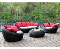 Garten Sitzgruppe Polyrattan WHITEHEAVEN: Sofa, 2 Sessel + Couchtisch - Anthrazit