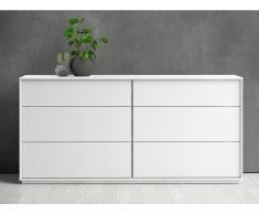 Kommode AGATA - 6 Schubladen - Weiß