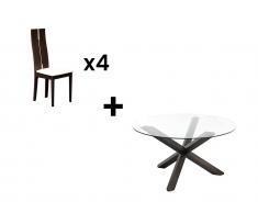Essgruppe: Esstisch CENTAURI + 4 Stühle SALENA