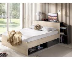 Bett mit Stauraum & Schubladen FLORIAN - 140x190 cm - Eiche & Anthrazit