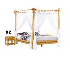 Sparset MALINDI: Himmelbett Bambus MALINDI - 160x200 cm + 2 Nachttische