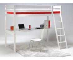 Hochbett mit Schreibtisch Prado - 90x190cm - Weiß