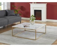 Couchtisch Design Marmor & Metall ARETHA - Gold/Weiß