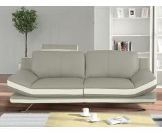 3-Sitzer Sofa Leder LATIKA - Grau/Elfenbein